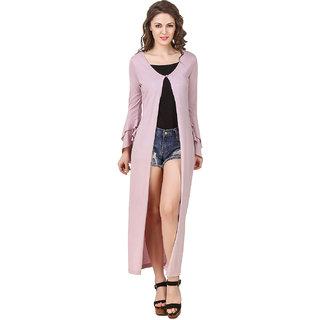 Texco Women'S Lilac Double Layered Ruffled Sleeve Longline Shrug