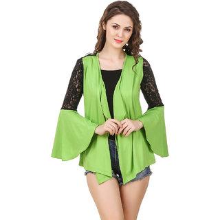 Texco Women'S Green &  Black Lace Ruffled & Grey Vertical Striped  Shrug
