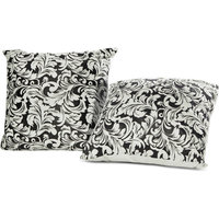 Just Linen Set Of 2 Brasso Velvet Black And White Cushion Covers