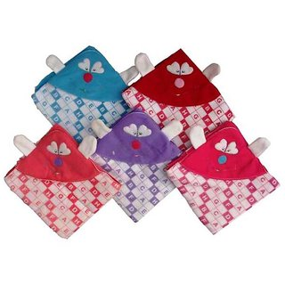 Furn@Home Alphabetical Set Of 5 Baby Blankets With Attractive Hood Assorted Colors