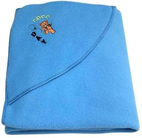 Furn@Home Good Day Teddy Polar Fleece Hooded Blue Baby Blanket