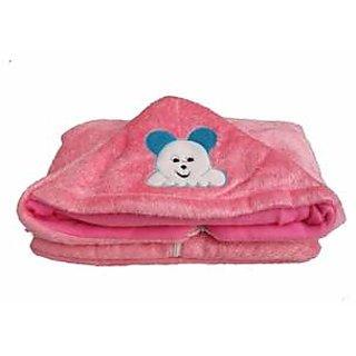 Furn@Home Teddy Design Hooded Fur Pink Baby Blanket With Zip
