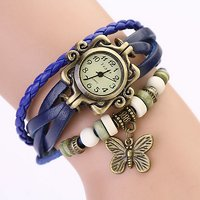 Vintage Round Dial Blue Leather Analog Watch For Women