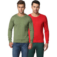 Goat Olive And Red Cotton Men'S Pullover (Pack Of 2)