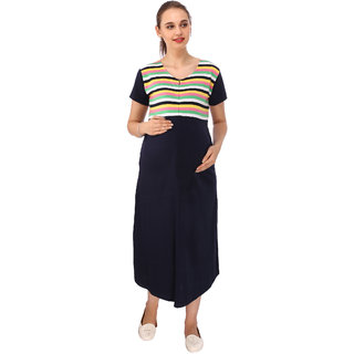 9244a7c247d Buy Vixenwrap Dark Blue Striped Maternity Dress Online   ₹1149 from ...