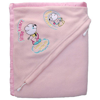 Furn@Home Antipilling Double Layer Hooded Light Pink Baby Blanket