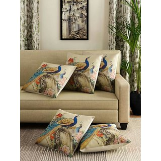 Amayra Cushion Covers 16 X 16 inch (SET OF 5), Peacock