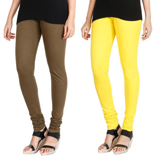 HRINKAR MEHENDI LIGHT YELLOW Soft Cotton Lycra Plain leggings Pack of 2 Size - L, XL, XXL - HLGCMB0082-XXL