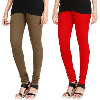HRINKAR MEHENDI RED Soft Cotton Lycra Plain leggings womens and girls combo Pack of 2 Size - L, XL, XXL - HLGCMB0090-L