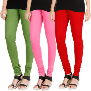 HRINKAR LIGHT GREEN LIGHT PINK RED Soft Cotton Lycra Plain leggings womens and girls combo Pack of 3 Size - L, XL, XXL - HLGCMB0354-L