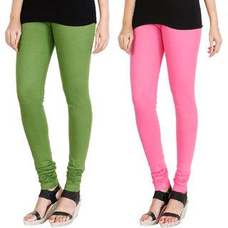 HRINKAR LIGHT GREEN LIGHT PINK Soft Cotton Lycra Plain leggings for womens combo Pack of 2 Size - L, XL, XXL - HLGCMB0027-L