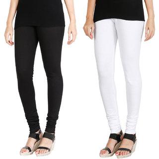HRINKAR BLACK WHITE Soft Cotton Lycra Plain womens leggings combo Pack of 2 Size - L, XL, XXL - HLGCMB0081-XXL