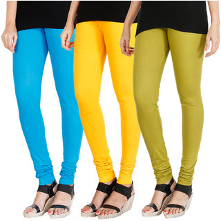 HRINKAR LIGHT BLUE MANGO YELLOW LIGHT GREEN Soft Cotton Lycra Plain Salwar leggings combo Pack of 3 Size - L, XL, XXL - HLGCMB0159-XXL