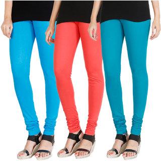 HRINKAR LIGHT BLUE PEACH BLUE Soft Cotton Lycra Plain leggings womens and girls combo Pack of 3 Size - L, XL, XXL - HLGCMB0226-L