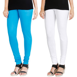 HRINKAR LIGHT BLUE WHITE Soft Cotton Lycra Plain leggings for womens combo Pack of 2 Size - L, XL, XXL - HLGCMB0016-XL