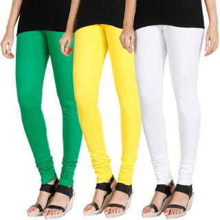 HRINKAR LIGHT GREEN LIGHT YELLOW WHITE Soft Cotton Lycra Plain leggings for womens combo Pack of 3 Size - L, XL, XXL - HLGCMB0560-XL