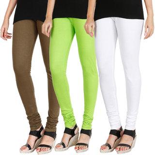 HRINKAR MEHENDI FLUROSCENT GREEN WHITE Soft Cotton Lycra Plain leggings for womens combo Pack of 3 Size - L, XL, XXL - HLGCMB0686-XL