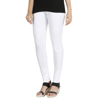 HRINKAR WHITE Soft Cotton Lycra Plain leggings for womens combo Size - L, XL, XXL - HLGS1539-XL