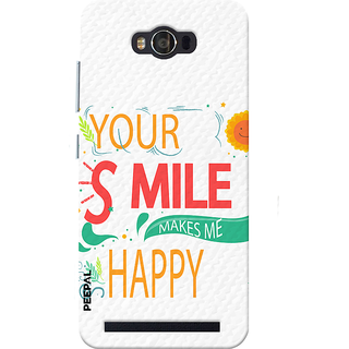 PEEPAL Asus Zenfone Max Designer & Printed Case Cover 3D Printing Smile Makes Me Happy Design