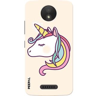 PEEPAL Motorola Moto C Plus Designer & Printed Case Cover 3D Printing Unicorn Design