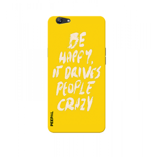 PEEPAL Oppo F1s Designer & Printed Case Cover 3D Printing Quote Be Happy Design