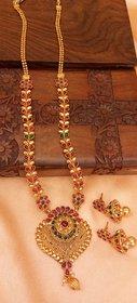 Designer gold plated long necklace set