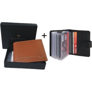 Nukaichau Mens Tan Pure Leather Bi-fold Wallets