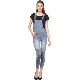 Manash Fashion Women Denim Dungaree Grey