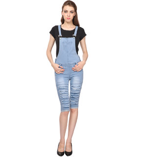 Manash Fashion Women Denim Dungaree Ice Blue