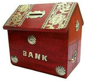Triple S Handicrafts Red Hut Shape Coin Bank  (Red)