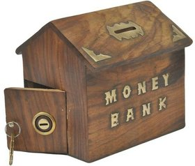 Triple S Handicrafts wooden Coin Bank  (Brown)