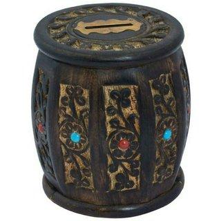 Triple S Handicrafts Barrel shape Coin Bank  (Brown)