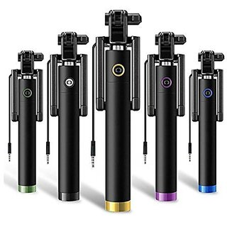 SCORIA Selfie Stick with aux and integrated foldable smart shooting aid for all Mobile Phone