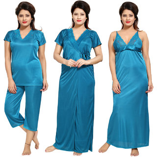 d69fd6d198 Buy Be You Satin Teal Color Lacey Women Nighty 4 Pcs Set Online ...