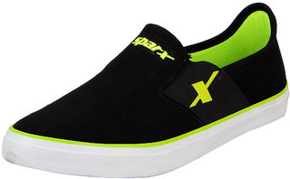 Sparx Black Green Men's Canvas Loafers