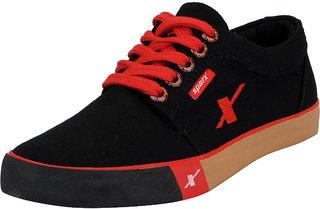 Sparx Black Men's Canvas Sneakers