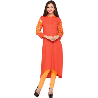 Swaron Orange Rayon Printed Stitched Kurti