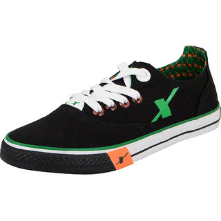 Sparx Black Green Mens Canvas Sneakers