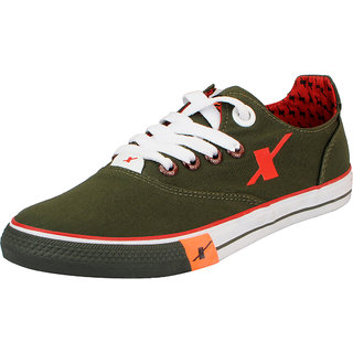 Sparx Olive Red Mens Canvas Sneakers