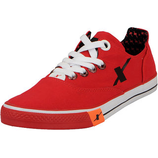 Sparx Red Black Mens Canvas Sneakers