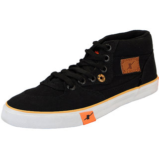 Sparx Black Mens Canvas Ankle Sneakers