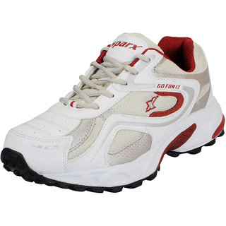 Sparx White Maroon Mens Sports Running Shoes