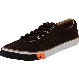 Sparx Dark Brown Mens Canvas Sneakers