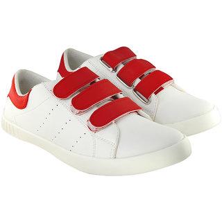 buy blinder men's trendy white red velcro casual sneakers