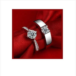 Buy Beauteous Sterling Silver Crystal Adjustable Couple ...