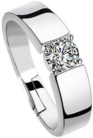 Sterling 925 Silver  Solitaire Adjustable Rings For Men  Boys