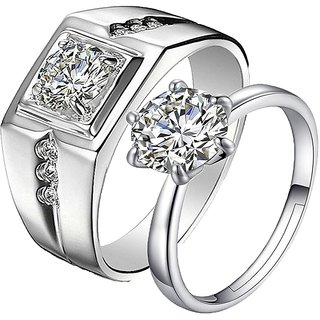 10bf24c369d Limited Edition Engagement Sterling Silver Solitaire Adjustable Couple  Rings (2pc) By Stylish Teens