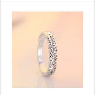 Style Statement Beautiful  Zircon Adjustable Ring For Women  Girls Alloy Sterling Silver Plated Ring