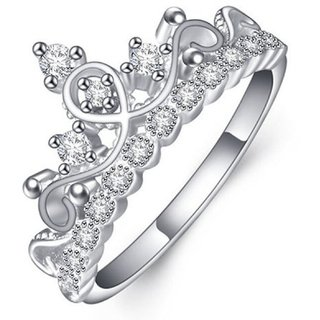Gorgeous Crown Design  Elements Sterling Silver Adjustable Ring For Women  Girls