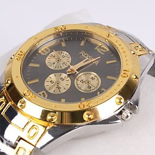Rosra Watch for men with Black dial  Golden Watch By InstaDeal